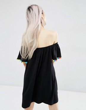 photo Off Shoulder Swing Sundress with Bright Pom Poms by ASOS, color Black - Image 2