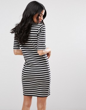photo Marrow Striped Bodycon Dress by Blend She, color Black - Image 2