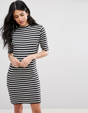 photo Marrow Striped Bodycon Dress by Blend She, color Black - Image 1