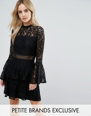 photo All Over Premium Lace Top Tiered Prom Mini Dress by John Zack Petite, color Black - Image 1