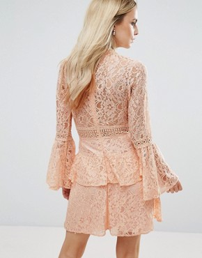 photo All Over Premium Lace Top Tiered Prom Mini Dress by John Zack Petite, color Nude - Image 2
