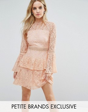 photo All Over Premium Lace Top Tiered Prom Mini Dress by John Zack Petite, color Nude - Image 1