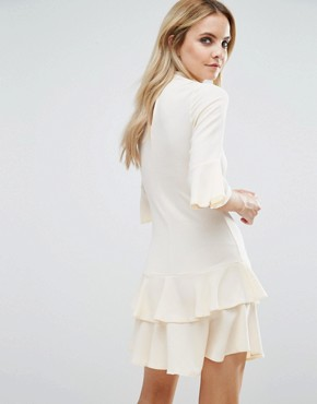 photo Smock Dress with Fluted Sleeve by John Zack Petite, color Vintage Cream - Image 2