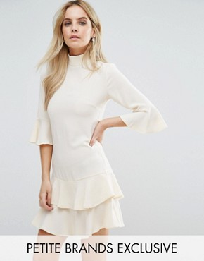 photo Smock Dress with Fluted Sleeve by John Zack Petite, color Vintage Cream - Image 1