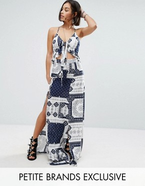photo Petite Printed Tie Front Maxi Dress with Double Thigh Split by Sisters of the Tribe, color  - Image 1