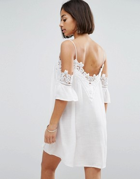 photo Petite Cold Shoulder Cami Strap Swing Dress with Crochet Trim by Sisters of the Tribe, color Cream - Image 2