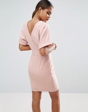 photo Smart Woven Mini Dress with V Back by ASOS TALL, color Pink - Image 2