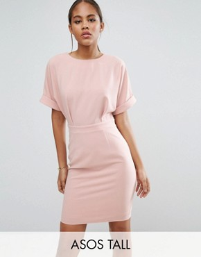 photo Smart Woven Mini Dress with V Back by ASOS TALL, color Pink - Image 1