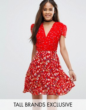 photo Mix And Match Floral Tea Dress by Glamorous Tall, color  - Image 1