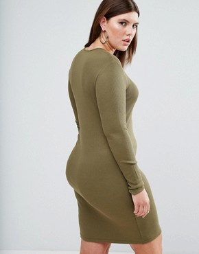 photo Mini Bodycon Dress in Rib with Long Sleeves by ASOS CURVE, color Khaki - Image 2