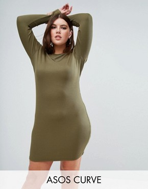 photo Mini Bodycon Dress in Rib with Long Sleeves by ASOS CURVE, color Khaki - Image 1