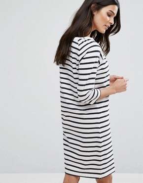 photo Stripe Dress by Selected Femme, color White/Sapphire - Image 2
