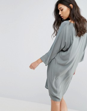 photo 3/4 Sleeve Shift Dress by Minimum, color Balsam Green - Image 2