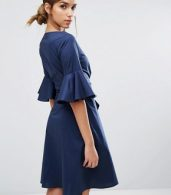 photo Wrap Front Shirt Dress with Fluted Sleeve by Closet London, color Navy - Image 2