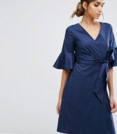 photo Wrap Front Shirt Dress with Fluted Sleeve by Closet London, color Navy - Image 1