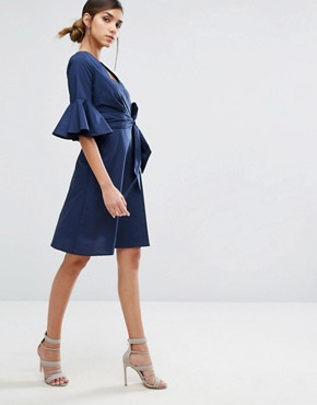 photo Wrap Front Shirt Dress with Fluted Sleeve by Closet London, color Navy - Image 4