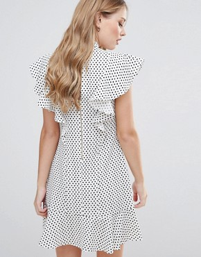 photo Ruffle Dress In Spot Print by Closet London, color  - Image 2