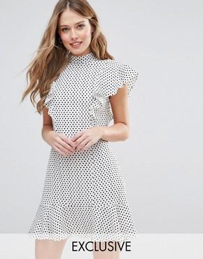 photo Ruffle Dress In Spot Print by Closet London, color  - Image 1
