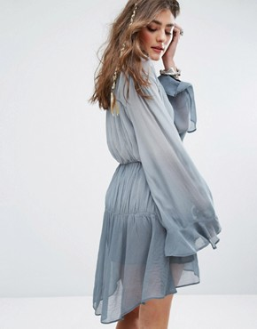 photo Festival Smock Dress with Tassel Trim In Colour Fade by Sacred Hawk, color Dove Grey - Image 2