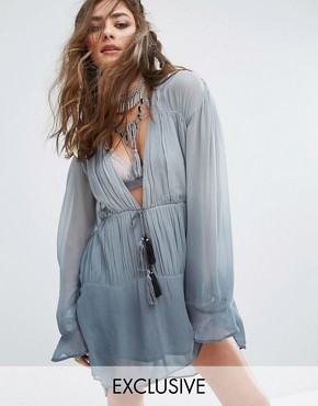 photo Festival Smock Dress with Tassel Trim In Colour Fade by Sacred Hawk, color Dove Grey - Image 1