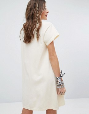 photo T-Shirt Dress with High Neck and Lattice Tie Cut Outs by Sacred Hawk, color Cream - Image 2