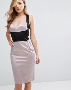 photo Satin Pencil Dress with Bust Cup Corset Detail by Elise Ryan, color Violet/Black - Image 1