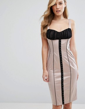 photo Satin Pencil Dress with Hook & Eye Corset Detail by Elise Ryan, color Nude/Black - Image 1