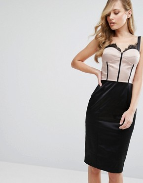 photo Eyelash Lace Pencil Dress with Panelled Corset Detail by Elise Ryan, color Nude/Black - Image 1