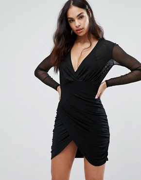 photo Mini Dress with Sheer upper and Asymmetric Skirt by Club L, color Black - Image 1