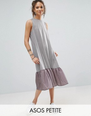 photo Midi Dress in Stripe with Contrast Woven Frill Hem by ASOS PETITE, color Grey - Image 1