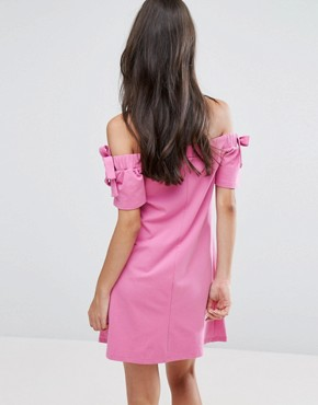photo Off Shoulder Dress with Tie Sleeve Detail by ASOS PETITE, color Pink - Image 2