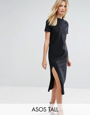 photo Ultimate T-Shirt Midi Dress with Side Split by ASOS TALL, color Black - Image 1