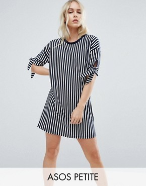 photo T-Shirt Dress in Stripe with Bow Sleeve by ASOS PETITE, color Navy/White - Image 1