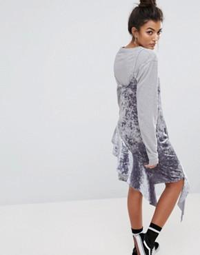 photo Cami Dress with Frills In Crushed Velvet by Mad But Magic, color Silver - Image 2
