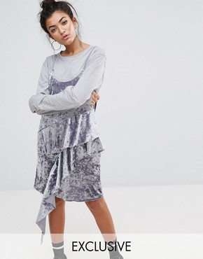 photo Cami Dress with Frills In Crushed Velvet by Mad But Magic, color Silver - Image 1