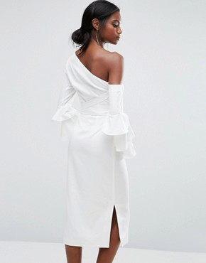 photo Pencil Dress with Exaggerated Ruffle Sleeve by Lavish Alice, color White - Image 2