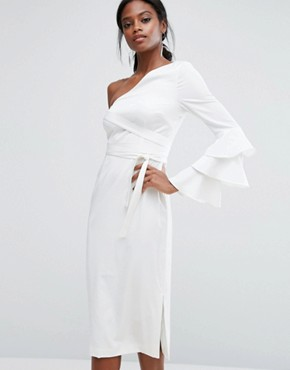 photo Pencil Dress with Exaggerated Ruffle Sleeve by Lavish Alice, color White - Image 1