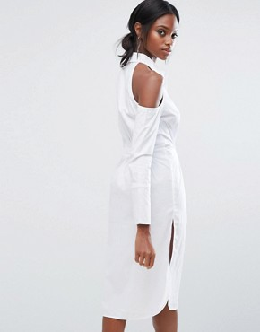 photo Cotton Shirt Dress with Cold Shoulder by Lavish Alice, color White - Image 2
