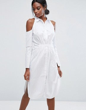 photo Cotton Shirt Dress with Cold Shoulder by Lavish Alice, color White - Image 1