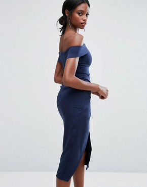 photo Bardot Midi Dress with Knot Detail by Lavish Alice, color Navy - Image 2