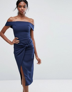 photo Bardot Midi Dress with Knot Detail by Lavish Alice, color Navy - Image 1