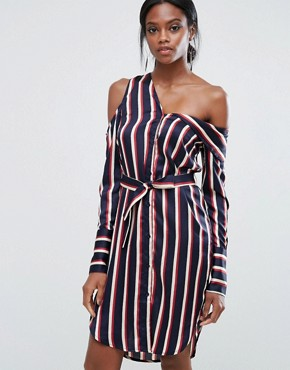 photo Asymmetric Shirt Dress In Stripe by Lavish Alice, color  - Image 1
