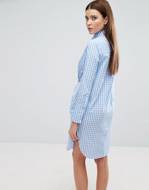 photo Twist Front Shirt Dress In Check by Lavish Alice, color Blue - Image 2