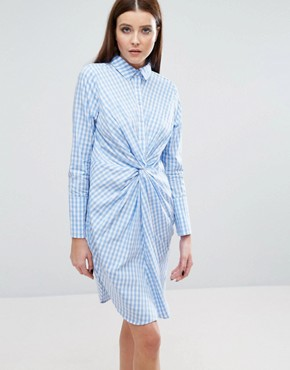 photo Twist Front Shirt Dress In Check by Lavish Alice, color Blue - Image 1