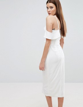 photo Cold Shoulder Midi Dress with Tie Detail by Lavish Alice, color White - Image 2