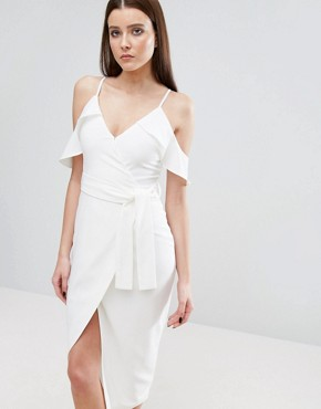 photo Cold Shoulder Midi Dress with Tie Detail by Lavish Alice, color White - Image 1