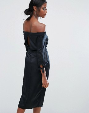 photo Off Shoulder Midi Dress with Tie Sleeve by Lavish Alice, color Black - Image 2