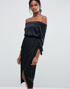 photo Off Shoulder Midi Dress with Tie Sleeve by Lavish Alice, color Black - Image 1