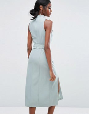 photo Keyhole Tie Belt Double Split Midi Dress by Lavish Alice, color Sage Green - Image 2