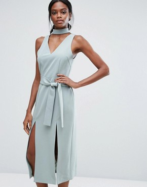 photo Keyhole Tie Belt Double Split Midi Dress by Lavish Alice, color Sage Green - Image 1
